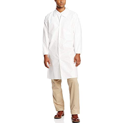 AMAZING Disposable SF Lab Coats. Pack of 10 White Medium Polypropylene 40 gsm Gowns with Waterproof Microporous Film, Hook & Loop Fasteners, Elastic Wrists. Unisex PPE Robes for Painting.