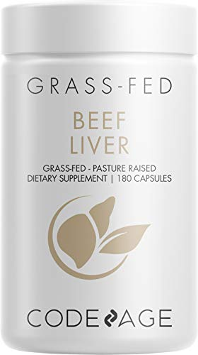 Codeage Grass Fed Beef Liver Supplement - Freeze Dried, Non-Defatted, Desiccated Beef Liver Glandulars Bovine Pills– Liver Health Foods Meat – Argentina Beef Vitamins For Liver - Non-GMO -180 Capsules