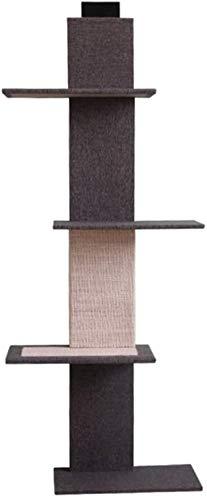 WJSWA Katze Kratzer Katze Kletterrahmen Massivholz Wandmontage Jump Platform Multifunktion Treppen Blumenständer Greifen Sie die Säule (Farbe: Schwarz, Größe: 44x24x150cm)