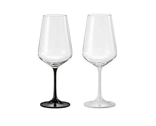 Copas de vino modelo Black & White 450 ml Set de 2 (negro y blanco)