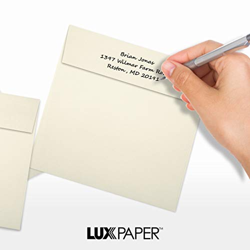 LUX Paper Square Invitation Envelopes for 6 1/4 x 6 1/4 Cards in 70 lb. Natural, Printable Envelopes for Invitations, with Peel & Press Seal, 50 Pack, Envelope Size 6 1/2 x 6 1/2 (Off-White) Photo #5