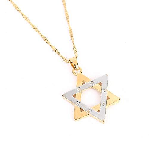 YHHZW Collar Collar De Hexagrama Judaísmo Israel Megen David Cadena Tantrismo Joyería Judía - Two_Tone