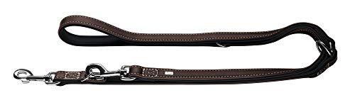 HUNTER Canadian Verstellbare Hundeführleine, Leder, hochwertig, weich, 2,0 x 200 cm, Dunkelbraun/schwarz