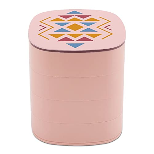 Rotar la caja de joyería Diseño de arte clásico étnico gráficos Bohemia joyería titular caja pequeña con espejo, diseño de múltiples capas plato de joyería para mujeres y niñas