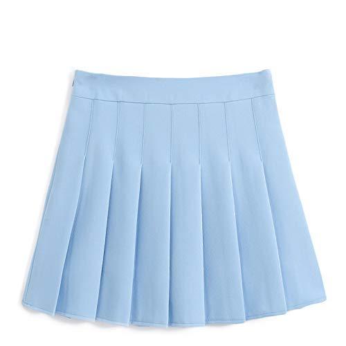 Vrouwen Mini Rok Effen Kleur Slank Dunne Hoge Taille Met Rits Veilig Klassieke Meisjes Tennis Plissé Rokken M Blauw