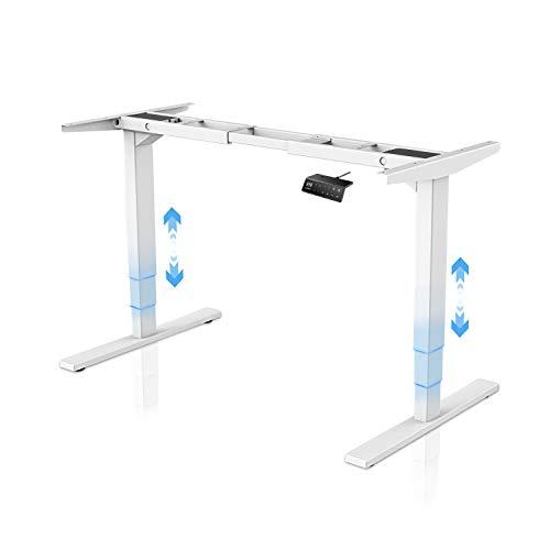 MAIDeSITe Regulowana wysokość elektryczna stojąca ramka na biurko z podwójnym silnikiem wytrzymała stalowa stojąca biurko z automatyczną klawiaturą pamięciową (3-stopniowa|podwójny silnik, biała)