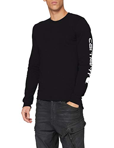 Carhartt Herren Signature Logo Long-Sleeve T-Shirt, Black, L