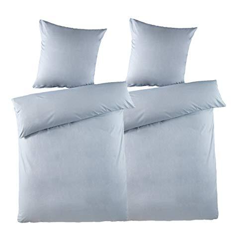 optidream 2-TLG. Bettwäsche Set Chambray Melange Effekt 135x200 100% Baumwolle mit Reißverschluss Uni Eisblau