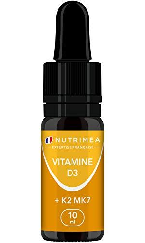 VITAMINES D3 K2 MK7 100% Pure et Vegan - Origine Naturelle avec Huile d'Olive Bio - Renforce l'immunité, Santé des Dents, Os, Muscles - Flacon Compte-gouttes – Fabriqué en France