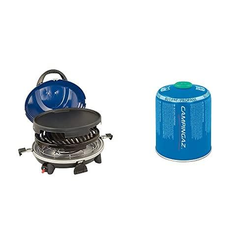 Campingaz 2000008369 Barbacoa Portátil, 3In1 Grill Gasgrill Mit Deckel, Azul + Cv 470 Plus Easy-Clic Cartucho Gas Con Valvula, Para Cocina Camping, Compacto Y Recipiente Sellable
