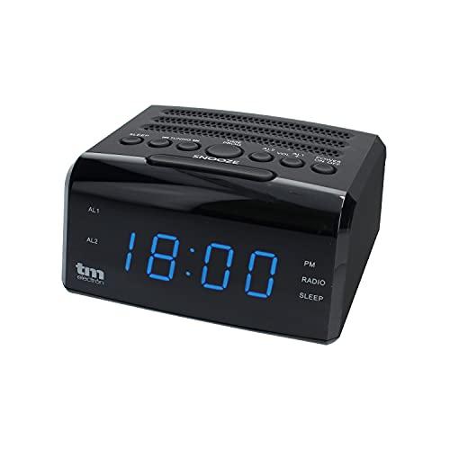 TM Electron TMRAR010 - Radio Reloj Despertador Digital PLL, Color Negro