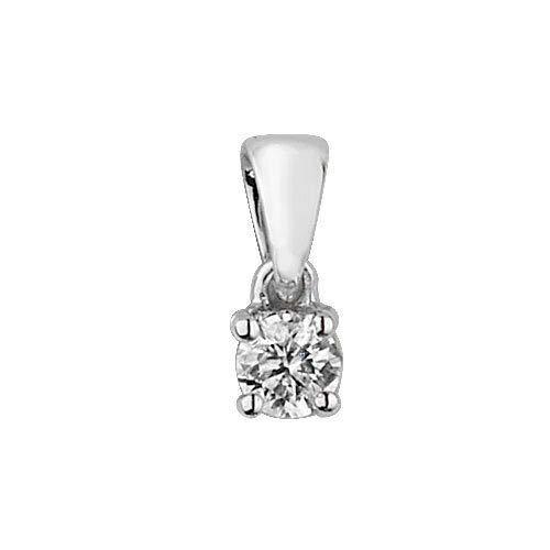 London Jewellery Quarter Diamond Solitaire Pendant White Gold 0.15ct Premium Diamond Four Claw Set