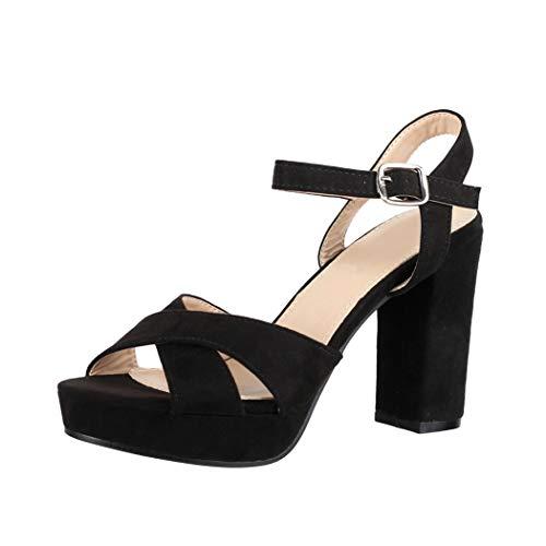 Elara Damen Pumps Bequeme Peep Toe Pumps Trendige Plateau High Heels Chunkyrayan YL96094 Black-36