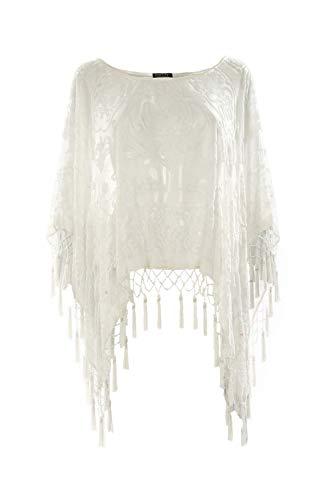 JAYLEY Silk Devore Poncho, cremefarben, Einheitsgröße