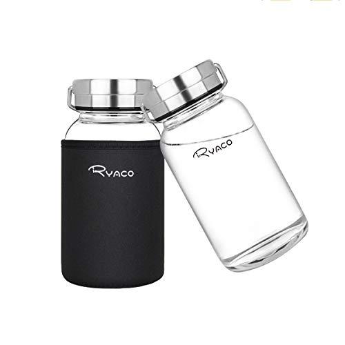 Ryaco Botella de Agua Cristal 800ml, Botella de Agua Reutilizable, Sin BPA Antideslizante Protección Neopreno Llevar Manga y Cepillo de Esponja (800ml, Negro)