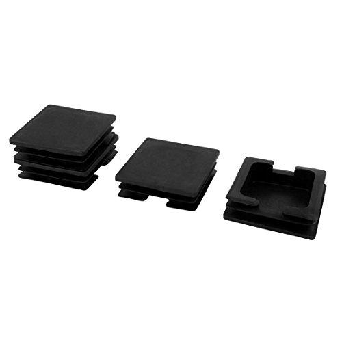 Sourcingmap Chaise Jambe en Plastique Protecteur Tuyau Tube carré Pieds insérer Moraillon Noir 75mm x 75mm