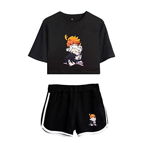 WWZY Anime The Promised Neverland Trajes de Impresión 3D Manga Corta Top Shorts Sexy Ombligo T-Shirt Camiseta y Shorts Conjuntos Anime Cosplay Emma,Norman y Ray Disfraz Mujer,M
