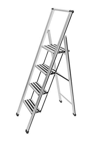 WENKO Leichte Aluminium Trittleiter mit 4 Stufen für 100 cm höheren Stand, rutschsichere XXL-Stufen, Design Klapptrittleiter mit 44 x 153 x 5,5 cm, TÜV Süd zertifiziert, matt silber