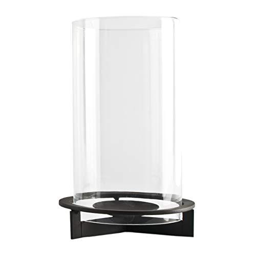 Windlicht Nobel aus Metall | mit extra großem Glaszylinder | modernes Design | für große bis sehr große Kerzen | schwarzer Eisenfuß | Deko für Garten, Balkon und Terrasse (H 30 cm / Ø 20 cm)