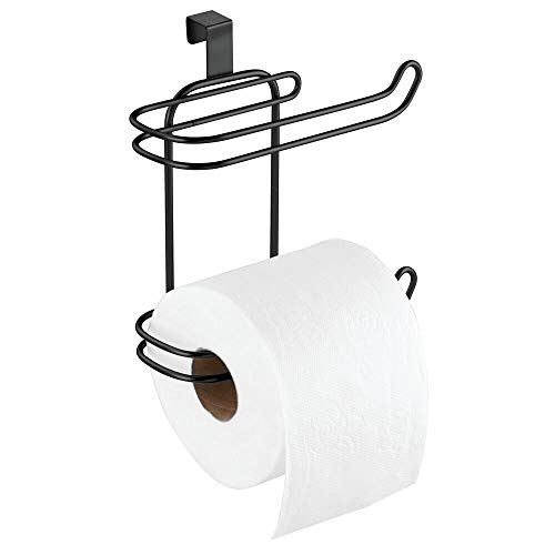 mDesign Pratico Porta Rotoli di Carta igienica – Elegante Supporto portarotoli Bagno in Metallo – Comodo distributore Carta igienica Senza Foratura – Nero