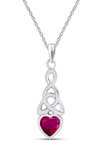 AFFY Trinity Heart Celtic Knot Pendant Necklace Simulated Ruby 14K White Gold Over Sterling Silver