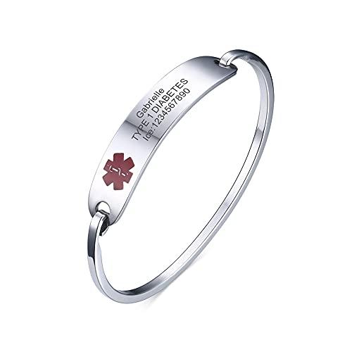 XUANPAI Personalisierte Edelstahl Öffnen Armreif Notfall Medical Alert ID Tag Armband Armband