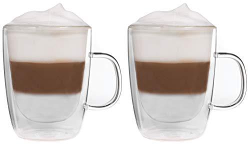Snobby 2X 450ml doppelwandige Tassen/Thermotassen/Glastassen/Teetassen/Kaffeetassen mit Schwebeeffekt by Feelino
