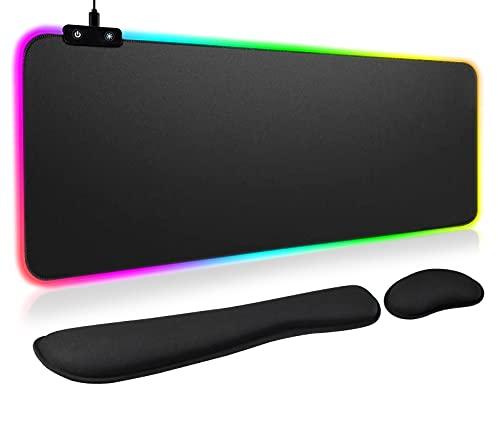 [3-en-1]LED RGB Tapis De Souris Gaming[Avec Repos Poignet],Kardition Grand Tapis De Souris Gamer[Ergonomie][LED Mouse Pad[Noir][800x300][15 Modes D