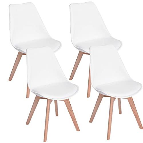 JIJIAN Juego de 4 sillas de comedor minimalistas tapizadas con patas de madera, disponible en negro, blanco y gris