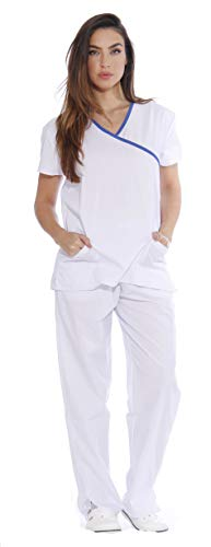 Just Love Women's Scrub Sets/5 Pocket Medical Scrubs Uniforms (Mock Wrap), White With Royal Blue Trim, Large