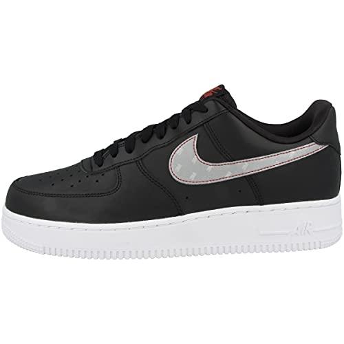 Nike Sneaker da uomo Low Air Force 1 '07 3M, Nero (Black Silver Anthracite University Red), 40.5 EU