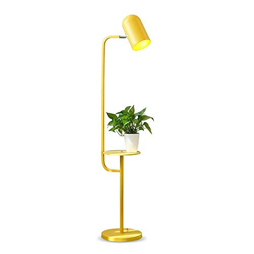 GIOAMH Lámparas de pie de metal LED, nórdico verde/rosa/amarillo Estantes de hierro Decoración de iluminación Lámpara de pie de lectura Sala de estar creativa Estudio de dormitorio Estantes de hi