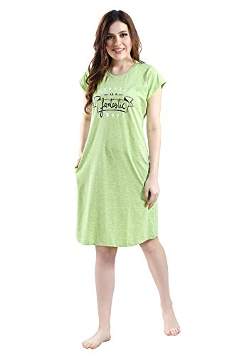 AV2 Women Cotton Graphic Print Short Nighty Light Green Medium...