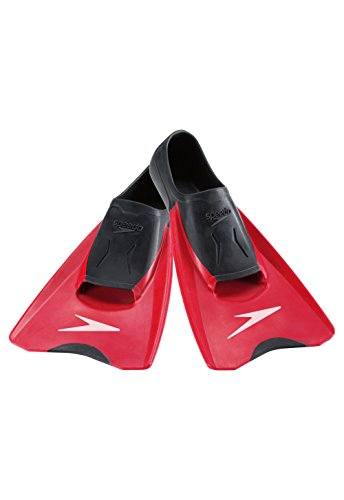 Speedo Unisex Swim Training Fin Switchblade Black/Red, XXS - Youth Shoe Size 2-3 | Women's Shoe Size 3-4