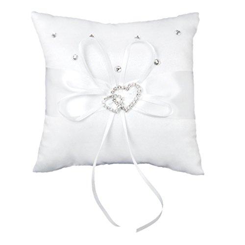 SupplyEU Hochzeit Ringkissen 15cmx15cm Vintage Doppel Herz Kristall Strass Romantisch Kissen Weiß