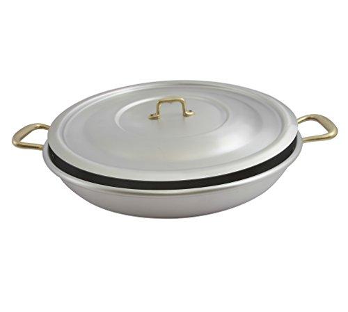 "Ottinetti 40cm""Donna"" Brushed Aluminium Paella Pan With Lid, Medium, Silver"