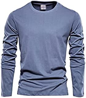 Fbnzmluqcx Long Sleeve Shirts Cotton Long Sleeve T Shirt for Men Solid Spring Casual Mens T-shirts High Quality Male Tops ...
