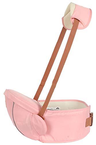 Hipseat Baby Carrier, Seguro Y Cómodo, Tamaño Libre, Cinturón Portador Delantero, 4 Posiciones De Transporte, Ideal para Recién Nacidos/Niños Pequeños (hasta 20 Kg), Verde,Rosado