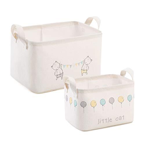 Ocean Home Aufbewahrungskorb 2er Set aus Vlies mit Griffen, Nachhaltige Boxen Wäschekorb Spielzeugkorb Geschenkidee für Kinder
