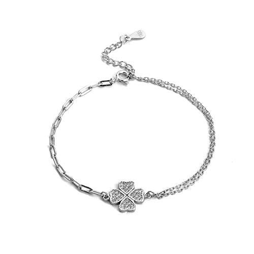 1 pulsera de plata de ley 925 con forma de trébol de cuatro hojas y accesorios para niñas, cadena de plata