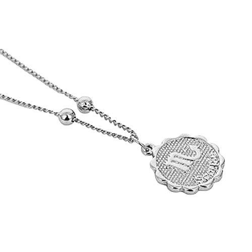 YUANMAO Collar con colgante de moneda de constelación para mujer, oro y plata, collar de cadena de clavícula, regalo de joyería de oro Escorpio