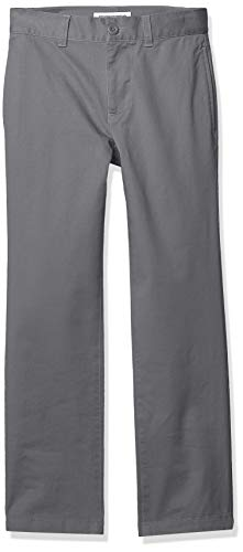 Amazon Essentials Jungen Straight Leg Flat Front Uniform Chino Pant Hose, Grey, 8H