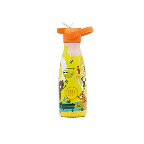 Cool Bottles - Botella de Agua de Acero Inoxidable - 260 ml - Jungle Park - Botella de Agua para Niños - 19,5 x 6,5 cm - Bebidas frías 24 horas y calientes 12 horas - Libre de BPA - Doble Pared