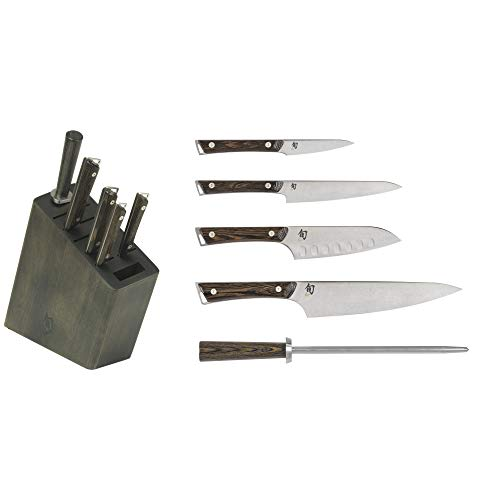 """Shun Kanso 6-Piece Block Set; Includes 3.5"""" Paring Knife, 6"""" Utility Knife, 8"""" Chef's Knife, 5.5"""" Hollow-Ground Santoku, Kanso Combination Honing Steel and Sleek Wood Block with Two Additional Slots"""