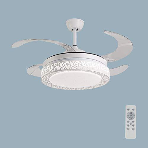 Luz decorativa LED de lujo con ventilador de techo, 3 palas, diámetro 400 cm, 72 W, con función de control remoto ajustable