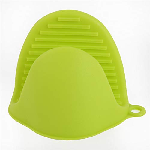LIJUEZL 2PCS Silikon Kochhandschuhe Backhandschuhe, Wärmeisolierende Ofen Handschuh Hitze Topf Clips Mikrowelle Kochen Handschuh Hot Plate Clip,Green