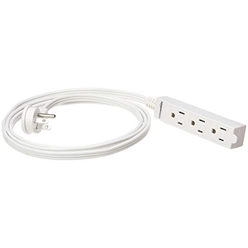 Amazon Basics 6-Foot 3-Prong Indoor Extension Cord Power Strip - Flat Plug, Grounded - 13 Amps, 1625 Watts, 125 VAC - 2-Pack, White