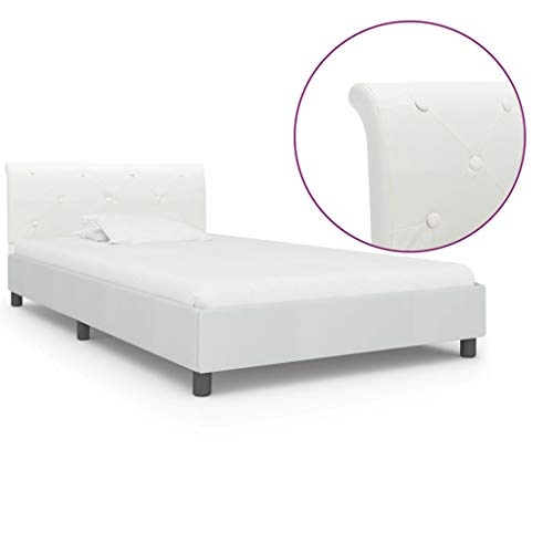 vidaXL Upholstered Bed Faux Leather Single Bed Frame Slatted Frame Bedroom Bed Double Bed White Faux Leather 100 x 200 cm