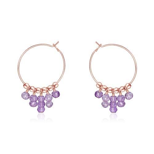 Lavender Amethyst Hoop Earrings in 14k Rose Gold Fill