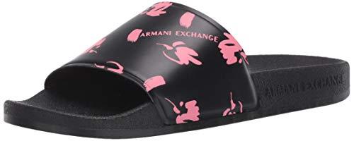 Armani Exchange Damen Sandal PU+Allover PR Zehentrenner, Schwarz (Black+White Logo 00002), 38 EU